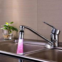 New Qualified Kitchen Sink 7 Color Change Water Glow Water Stream Shower LED Faucet Taps Light Dropship Kitchen Sink Faucets, Kitchen Fixtures, Bathroom Faucets, Light Bathroom, Glow Water, Light Water, Water Tap, Water Flow, Tap Head