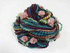 Evening Garden Handspun Bulky Art Yarn Flower Yarn by Autumnrose