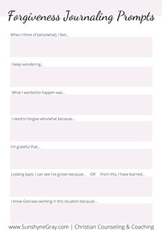 Get your free Forgiveness Worksheet printable PDF. Journaling past pain helps overcome bitterness and resentment and restore peace and joy. Counseling Worksheets, Therapy Worksheets, Counseling Activities, Therapy Activities, Counseling Teens, Counseling Quotes, Therapy Journal, Therapy Tools, Play Therapy