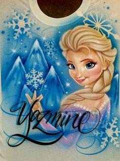 Airbrush Elsa Airbrushed Shirt any Name Frozen Disney Movie
