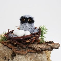 OOAK Realistic Baby Owl with Nest and Eggs Dollhouse Miniature 1:12 scale by Katie Doka ~ IGMA