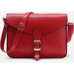 Red Buckle Design Flap Messenger Bag (13 BAM) ❤ liked on Polyvore featuring bags, messenger bags, red, buckle messenger bag, red bags, polyurethane bags and courier bag