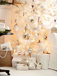 The retro white-on-white Christmas tree theme has returned! Go for an all-white artificial tree and stick to only silver and white Christmas tree decorations. If you aren't quite ready to go all the way with this trend, purchase a mini white tree instead and style it with white decorations to make a smaller statement on an entryway table or buffet. (image credit: Lucy Akins) Editor's Lighting Tip: Use three 100-light sets per foot for a fresh Christmas tree, and 50-light strands for an…