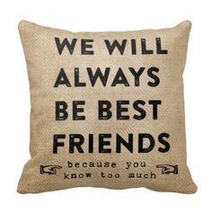 Burlap Best Friends Forever Funny Throw Pillow #pillows #homedecor
