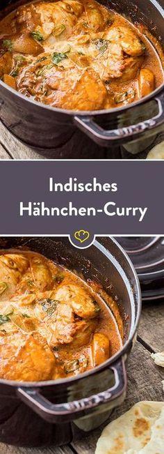 Bei diesem wunderbar cremigen Curry aus Indien kommt alles in einen Topf - Deckel drauf und warten, bis Kreuzkümmel Co. Indian Food Recipes, Asian Recipes, Healthy Chicken Recipes, Cooking Recipes, Drink Recipes, Dinner Recipes, Recipe Chicken, Indian Chicken, Chicken Tikka
