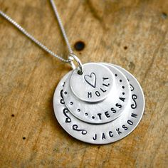 Personalized mothers necklace with three names Hand by JustJaynes, $79.00