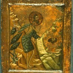 Saint John the Baptist in the Wilderness · The Sinai Icon Collection Byzantine Art, Byzantine Icons, Religious Images, Icon Collection, John The Baptist, Orthodox Icons, Sacred Art, Illuminated Manuscript, Saints