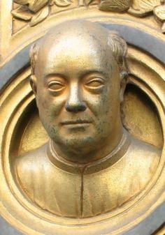 Autoritratto di Lorenzo ghiberti Porta Est del battistero di Firenze 1425-1452 Bronzo dorato