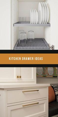 DIY Kitchen Drawer Ideas #kitchendrawer #kitchendrawers Drawer Inspiration, Drawer Ideas, Drawer Design, Drawer Storage, Kitchen Drawers, Diy Kitchen, Cool Kitchens, Tiny House, Diy Home Decor
