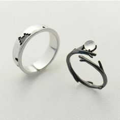 Sterling Silver Ring Pine Tree Branch Bands Statement Ring Adjustable Ring Gift Jewelry Accessories Women Men