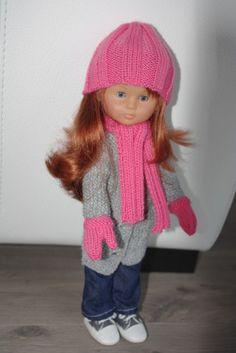 Bonnet, écharpe et gants pour la poupée Clara