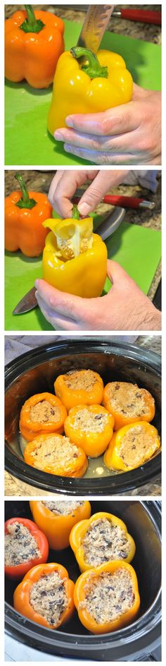 Slow Cooker Stuffed Peppers.  Try this easy and healthy dinner idea.  This slow cooker recipe is vegan and gluten free.