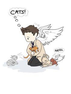 Cartoon Supernatural Castiel Fan Art - featuring cats