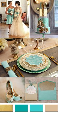 gold and teal fall wedding color ideas for september brides
