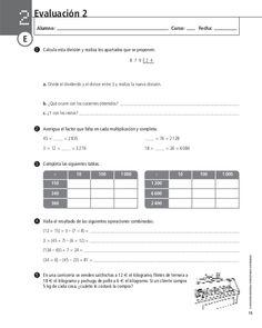 205700177 evaluacion-de-matematica Math Activities, Middle School Maths, Math Test, Fifth Grade, Math Problems