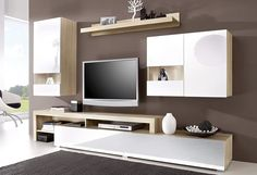 Living room parts), with 2 hanging showcases - Living Tv, Living Room Tv Unit, Living Room Modern, Living Room Designs, Living Room Decor, Tv Unit Design, Tv Wall Design, Hanging Tv On Wall, Modern Tv Units