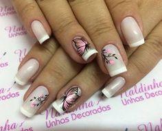 Diseños de uñas Pretty Nail Designs, Gel Nail Designs, Silver Nails, Pink Nails, Toe Nail Art, Toe Nails, Short Square Nails, Best Acrylic Nails, Stylish Nails