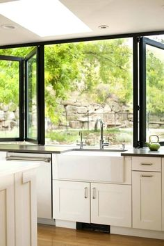 many people make a modern kitchen garden window at their home. Besides, the window is a vital need to have a good circulation of air at home Indoor Outdoor Kitchen, Outdoor Kitchen Design, Home Decor Kitchen, Interior Design Kitchen, Home Kitchens, Kitchen Designs, Outdoor Kitchens, Kitchen Ideas, Kitchen Craft