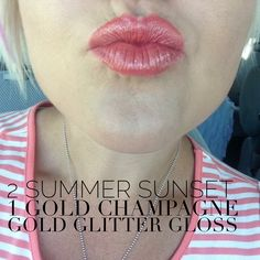 All you lipstick junkies out there-- do you want wholesale prices to fuel your lipsense addiction?  JOIN MY TEAM and get a discount for yourself and/or a fabulous way to bring in some extra money! Not to mention you get to hang out with me ;)  It's basically win-win! Summer sunset and gold champagne with gold glitter gloss lipsense