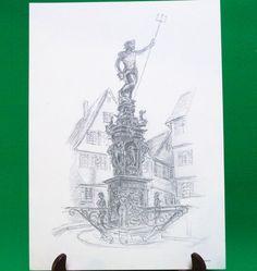 1977 Print Of Pen Sketch By Tübingen Artist Georg Salzmann, Neptunbrunnen - $5.95