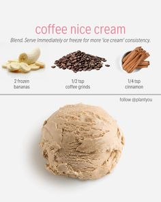 COFFEE FOR DESSERT? This nice cream will hit the spot. This vegan nice cream is rich in flavour and is very simple to make. All you need to do is blend these ingredients together. We can't wait to for you to make this plant-based coffee ice cream recipe. Healthy Vegan Desserts, Vegan Sweets, Vegan Recipes, Paleo, Healthy Food, Locarb Recipes, Vitamix Recipes, Healthier Desserts, Plant Based Meal Planning