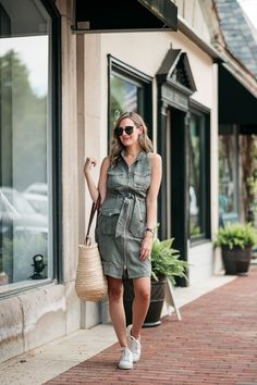 casual summer looks shirt dress with sneakers