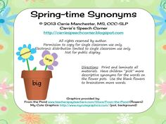 Spring-time Synonyms - Pinned by @PediaStaff – Please Visit  ht.ly/63sNt for all our pediatric therapy pins