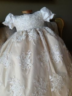 Wholesale cheap christening dress brand -infant baby girls baptism gown any size white ivory lace tulle cathedral christening dress with bonnet from Chinese chr Girls Christening Dress, Baby Girl Baptism, Baptism Dress, Baby Birthday Dress, Birthday Dresses, Baby Dress, Birthday Cakes, Baby Girls, Infant Girls