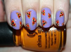 Pizza Party nail art by Polish You Pretty. Click the photo to see the full tutorial!