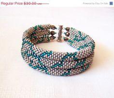 EASTER SALE SALE  Beadwork  3 Strand Bead Crochet Rope by lutita