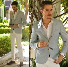 Similar Here > Blazer, White Shirt, Aviators, White Jeans, Oxfords - - Adam Gallagher Business Casual Herren, Business Casual Dresscode, Seersucker Blazer, Moda Instagram, White Chinos, White Trousers, Adam Gallagher, White Jeans Outfit, Blazer Outfits
