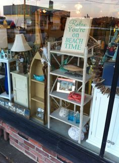 """What a treat if find not just one, but two of my hand-painted signs in the front window display in downtown Coos Bay at Leaf's Treehouse store!  (My daughter has a """"store"""" inside...that helps!)  If you're ever in Coos Bay this store is MUST on your list of Southern Oregon destinations~!"""