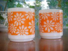 retro orange daisies.