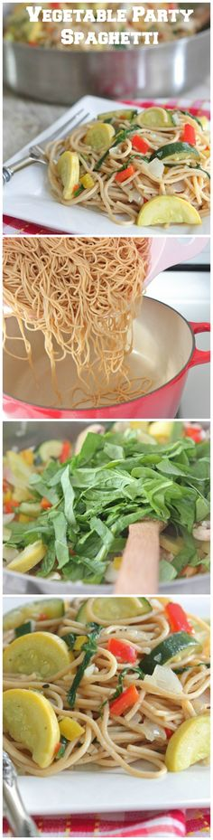 Vegetable Party Spaghetti with Garlic Thyme Olive Oil.  Simple weeknight dinner!