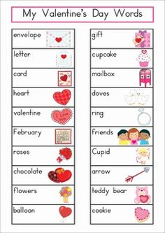 "Valentine's Day Vocabulary Word Wall. Includes a personal word wall for students, a file-folder word wall for the writing or word work center and large cards for the classroom wall in color and black and white. Also has several word wall worksheets. The large cards would be great from a ""Write the Room"" activity too!"