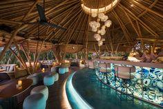 Azul Beach Club - Restaurant and Bar - Legian Beach Restaurant Design, Bamboo Restaurant, Camping, Finns Beach Club, Bali Baby, Bamboo Architecture, Deco Nature, Beach Cafe, Pool Bar