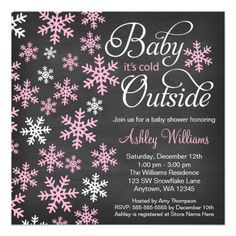 Baby It's Cold Outside Chalkboard Pink Baby Shower Invitation