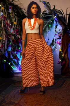 Orange and white chevron printed poly palazzo pant to order, visit www.facebook.com/tadkabymadhu mail us at tadkabymadhu@gmail.com