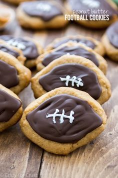 Football shaped peanut butter cookies with chocolate OMG YUM and sooo cute!