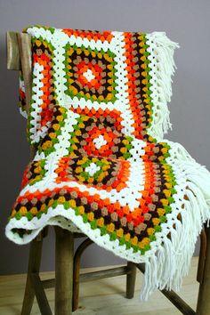 Vintage Granny Square Crochet Blanket by fashionredemption on Etsy, $68.00