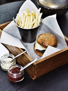 Cute presentation -- Kid's cheeseburger and fries at The Siam Bangkok