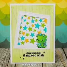 "Used the cute baby dragon from the ""Hot Stuff"" set by Clearly Besotted to create this birthday card. You can find more pictures, a recipe on how to make this card and a list of supplies on my blog! Happy crafting ;o) www.maikreations.de    maikreations"