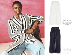 On the left a model wears a striped black and white long shirt over a pair of light colored jeans. To the right, top and bottom culotte jeans. All images by River Island.