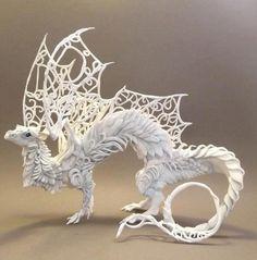 {white dragon sculpture} by Ellen Jewett - Dragons Fantasy Creatures, Mythical Creatures, Dragons, Illustration Manga, White Dragon, Wow Art, 3d Prints, Dragon Art, Clay Dragon