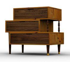 Gaveteiro com 03 gavetas de madeira maciça, corpo de madeira maciça e pés palito com ponteira de metal. Peça única. TRAPICHE VINTAGE