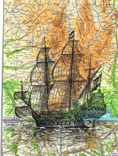 Map.Sailboat.ship.Birthday gift art Book Page by studioflowerpower, $8.50