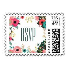 Floral Design RSVP Wedding Postage Stamps