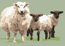 Sheep with twin lambs / cross stitch