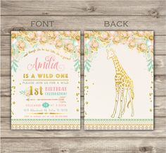 Zoo Wild One Birthday GIRAFFE Invitations Faux Glitter Spring