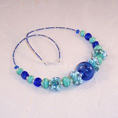 """Lampwork Glass Necklace """"Glass in the Garden"""" by LiteratePackrat, $67.00"""